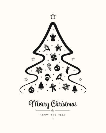 merry christmas tree icon elements card background Çizim