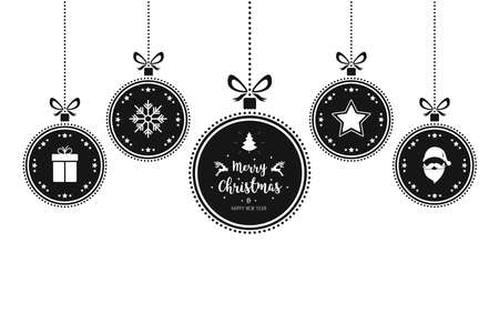 Christmas wishes ornaments baubles hanging isolated white background Ilustração