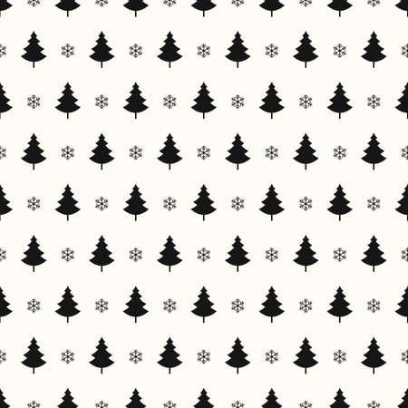 Christmas tree snowflakes seamless pattern