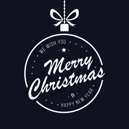 Merry christmas bauble greetings blue background