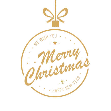 Merry christmas golden bauble greetings isolated background Çizim