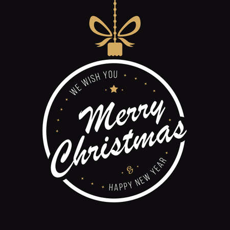 Merry christmas bauble greetings black background
