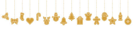 christmas golden ornament icon elements hanging isolated background