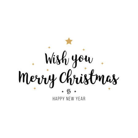 Merry christmas greeting calligraphy text gold black isolated background