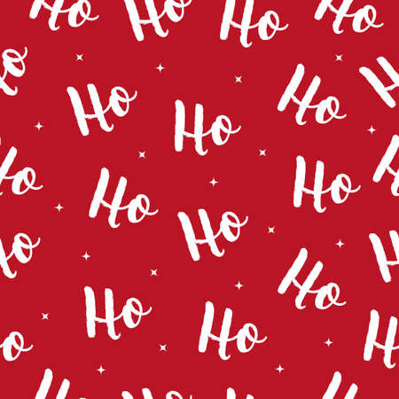 Ho Ho Ho Christmas vector greeting card lettering seamles pattern red background