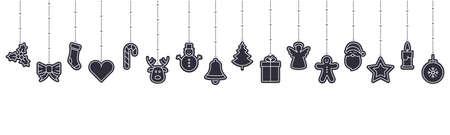 christmas ornament icon elements hanging isolated background Çizim