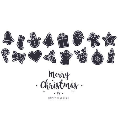 Christmas ornament icons elements isolated background