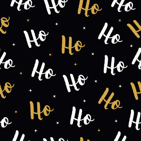 Ho Ho Ho Christmas vector gold greeting card lettering seamles pattern background