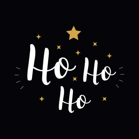Ho Ho Ho Christmas vector gold greeting text lettering black background
