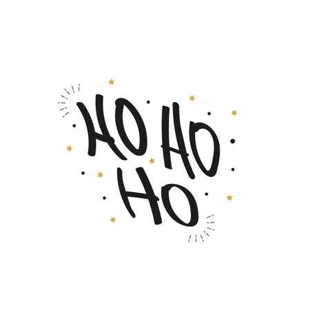 Ho Ho Ho Christmas vector gold greeting text lettering white background Çizim