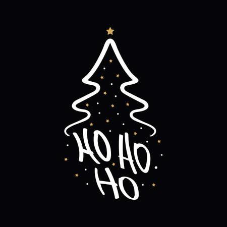 Ho Ho Ho Christmas tree gold greeting text lettering black background Çizim