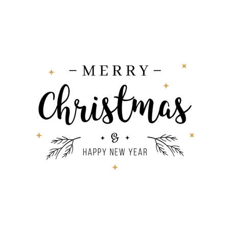 Merry Christmas greeting text lettering isolated background Çizim