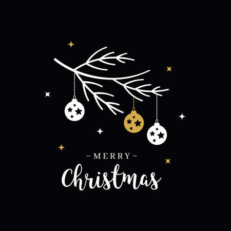 Merry Christmas greeting text lettering branch bauble black background Çizim