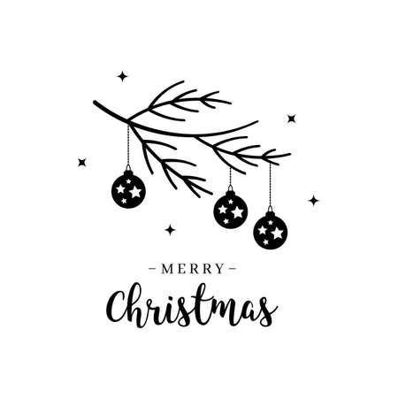 Merry Christmas greeting text lettering branch bauble isolated background