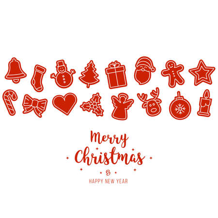 Christmas red ornament icons elements isolated background