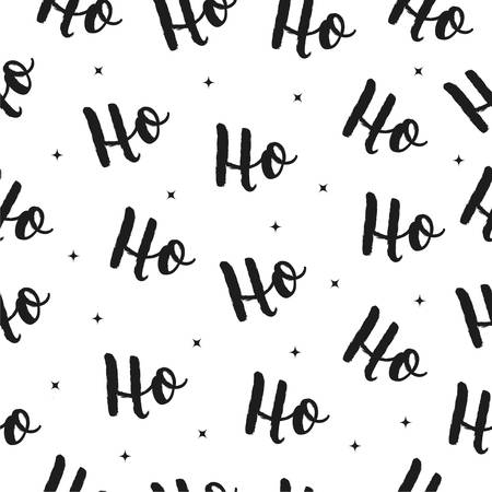 Ho Ho Ho Christmas vector greeting card lettering seamles pattern background
