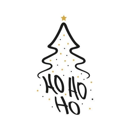 Ho Ho Ho Christmas tree gold greeting text lettering isolated background Çizim