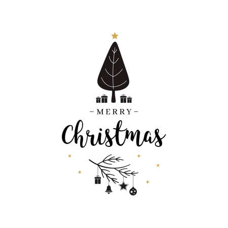 Merry Christmas greeting text tree and gifts isolated background Çizim