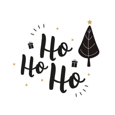 Ho Ho Ho Christmas tree greeting text lettering isolated background Çizim