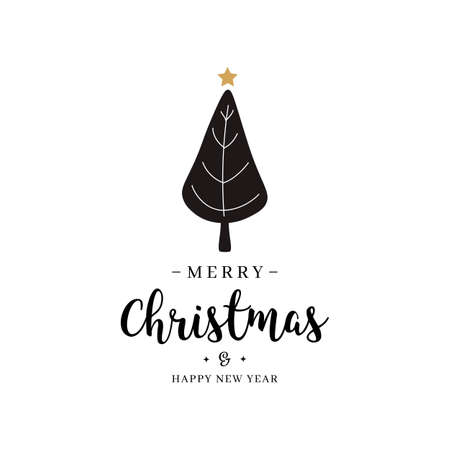 Merry christmas greeting text tree gold isolated background