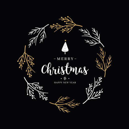 Merry Christmas greeting text lettering wreath branch circle black background