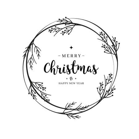 Merry Christmas greeting text lettering wreath branch circle isolated background