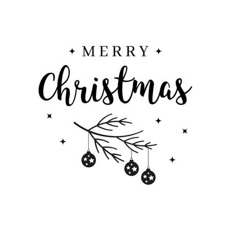Merry Christmas greeting text lettering  branch bauble isolated background Çizim