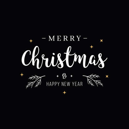 Merry Christmas greeting text lettering black background