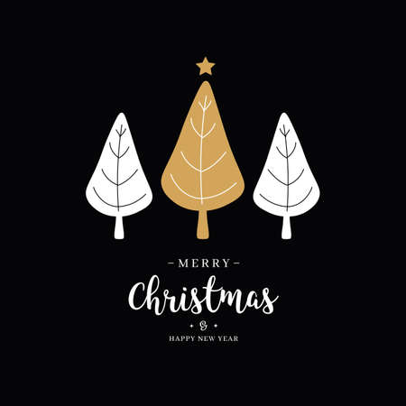 Merry christmas greeting text trees gold star black background