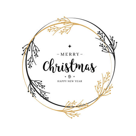 Merry Christmas greeting text wreath branch circle isolated background Çizim