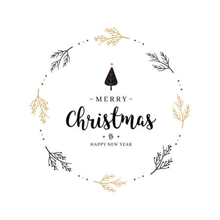 Merry Christmas greeting text branch circle isolated background