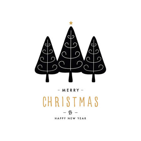 Merry christmas greeting text trees gold star isolated background Çizim