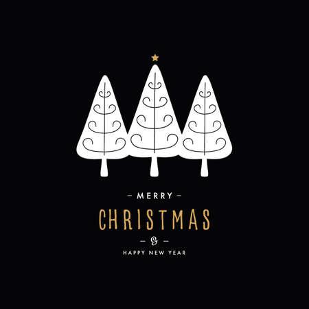 Merry christmas greeting text trees black background Çizim