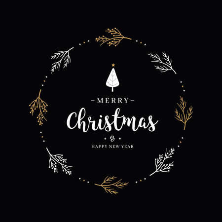 Merry Christmas greeting text branch circle black background