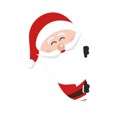 Santa claus character showing in blank space isolated background
