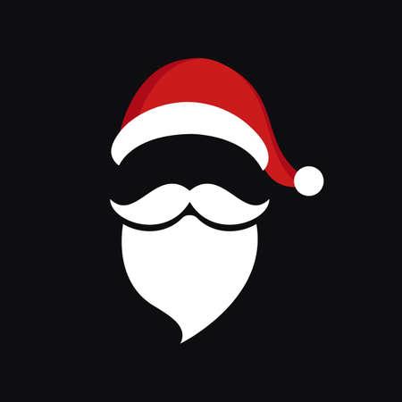Santa claus hat and beard christmas black background