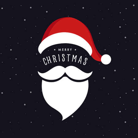Santa claus hat and beard christmas greeting snow background