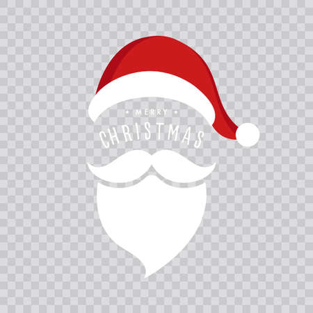 Santa claus hat and beard christmas isolated background