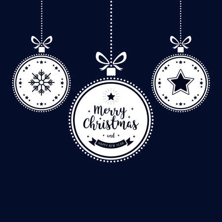 Christmas wishes ornaments golden baubles hanging blue background Çizim