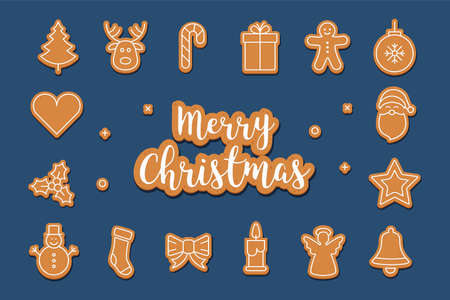 Merry Christmas greetings gingerbread cookie set blue background