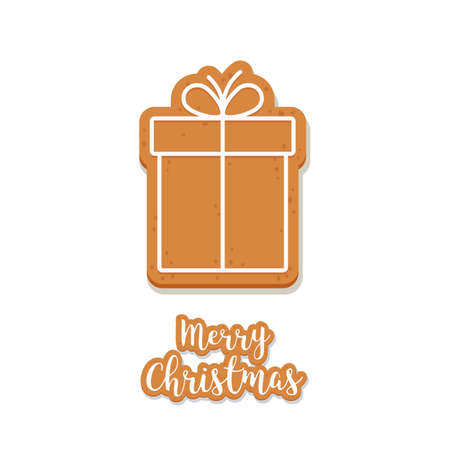 Gingerbread Gift box cookie christmas greetings isolated background