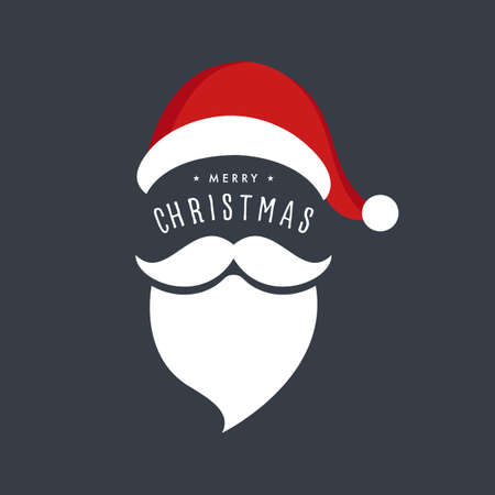 Santa claus hat and beard christmas greetings background Çizim