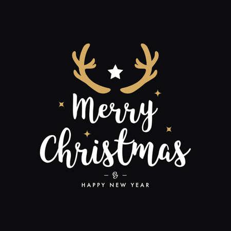 Merry christmas greeting gold  deer antlers black background