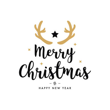 Merry christmas greeting gold  deer antlers white background