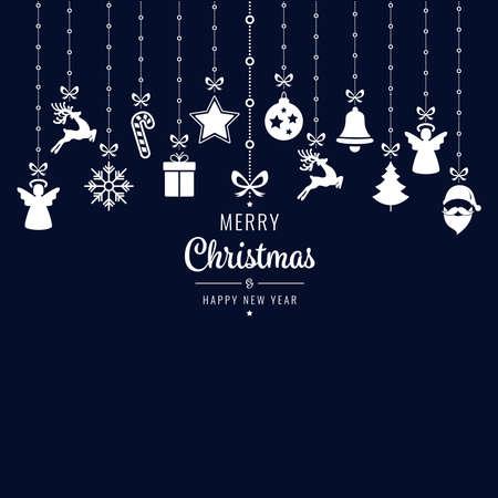 christmas greetings ornament elements hanging blue background Çizim