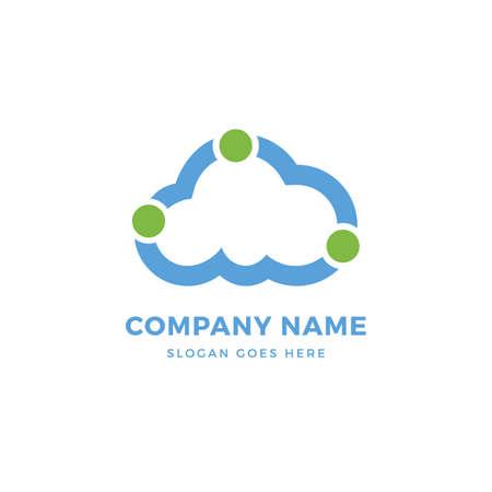 Cloud dots vector logo design template. abstract logotype concept element sign shape. Çizim