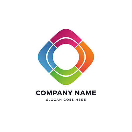 Color network vector logo design template. abstract logotype concept element sign shape. Çizim