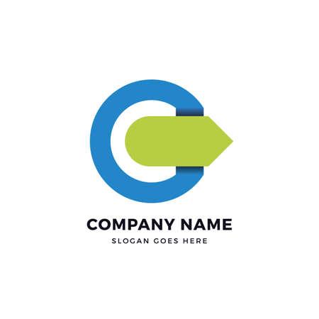 C letter arrow vector logo design template. abstract logotype concept element sign shape. Çizim