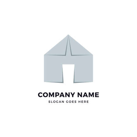 Paper house vector logo design template. abstract logotype concept element sign shape. Çizim