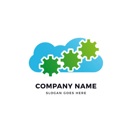 Gear cloud vector logo icon design template. abstract logotype concept element sign shape.